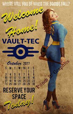 Vault-Tec Pin Up Art Calendar Print Fallout 3 4 New Vegas Fallout Posters, Fallout Props, Fallout Fan Art, Fallout Concept Art, Fallout Meme, Fallout Cosplay, Vault Tec, Fall Out 4, Art Calendar