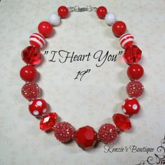 """I Heart You"" Chunky Beaded Necklace, Photo Prop, Child, Adult, Valentine's Day"