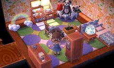 Part 2) My alpine room! It currently lacks the wallpaper, but I arranged it to make it look like a bedroom! It's playing K.K. Bossa in the background because I think it's a relaxing tune U v U