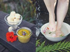 Eget fotspa - Blommigt fotbad, skrubb och lotionbars