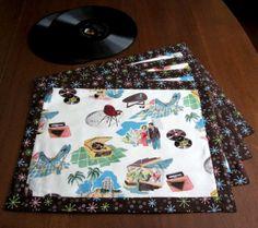Retro Atomic Mid Century Style Vinyl Records Palm by TikiQueenArts, $35.00