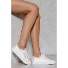 Nasty Gal Smooth Criminal Satin Sneaker (€42) ❤ liked on Polyvore featuring shoes, sneakers, white, white shoes, white trainers, white lace up shoes, nasty gal sneakers and laced shoes