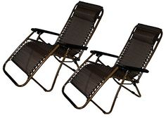 Set of 2 ZeroGravity Canopy Lawn  Patio Chair with Head Rest  Brown ** To view further for this item, visit the image link.(This is an Amazon affiliate link)