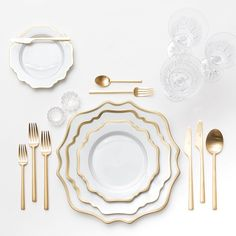 Anna Weatherley Dinnerware + Gold Collection Flatware + Czech Crystal/Coupe Trios + Antique Crystal Salt Cellars | Casa de Perrin Design Presentation