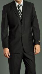 Men's Two Button Black Shadow Stripe Suit