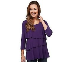 Susan Graver Liquid Knit Tiered 3/4 Sleeve Top