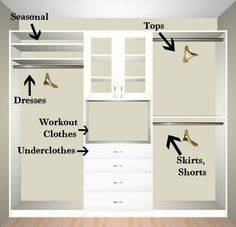 Small walk in closet ideas and organizer design to inspire you. diy walk in closet ideas, walk in closet dimensions, closet organization ideas. Closet Redo, Closet Remodel, Master Bedroom Closet, Home Bedroom, Bedroom Ideas, Bedroom Decor, Bathroom Closet, Master Bedrooms, Master Closet Layout