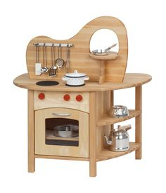 Looking for the best wooden play kitchen set for kids? The Glückskäfer Wooden Play Kitchen with Top is double-sided with a stovetop, oven, sink, and more.
