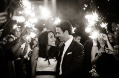 Such a magical wedding send-off! Sparklers are stunning. | StyleMePretty