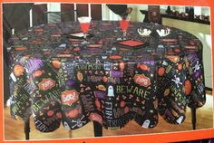 "NWT Adorable Fun Halloween Holiday Themed Round Satin Table Cloth 58"" Kitchen #Unbranded"