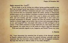 Intelligent women: A note from Einstein to Mrs. Curie.