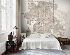 """★Foto """"pinnata"""" dalla nostra lettrice Anna Draicchio bedroom; camera letto, mappe, carta da parati"""