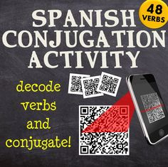 A fun cooperative learning activity for your Spanish language classroom to practice Spanish verbs conjugations in any tense chosen by the teacher. Students will have to look for QR codes around the classroom or around the school, decode them and conjugate!