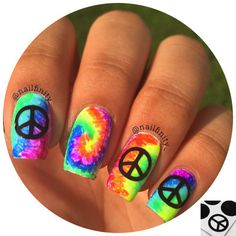 Sign Vinyls Peace Sign Vinyls - Twinkled TPeace Sign Vinyls - Twinkled T Hippie Nail Art, Hippie Nails, Peace Sign Nails, Tie Dye Nails, Emo, Nails For Kids, Bright Nails, Halloween Nail Designs, Toe Nail Designs