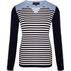 Viyella Petite Insert Stripe Jumper (£80) ❤ liked on Polyvore featuring tops, sweaters, navy, petite, women, navy jumper, striped jumper, stripe sweater, navy blue striped sweater and white tops