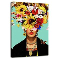 Viva Frida Kahlo Floral Canvas Painting | #mexicanFolkArt #mexican #homeDecor #wallArt #artwork #print #art #streets #mexicanStreets #canvasArt #vivaFrida #FridaKahlo # Mexican Paintings, Mexican Folk Art, Canvas Art, Poster, Wall Art, Artwork, Frida Kahlo, Famous Quotes, Wall Murals