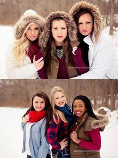 Senior girl pose, group shoot, group pose, best friend session, winter glam session, snow session http://kerihamiltonphotography.com http://instagram.com/kerihamiltonphotography http://facebook.com/kerihamiltonphotography