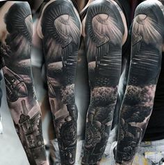 Realistic Mens Spiral Stairway To Heaven Tattoo Sleeves