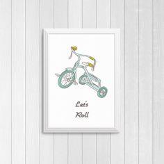 Let's roll tricycle print DIY printable Trike by Papierscharmants Bedroom Prints, Nursery Prints, Nursery Art, Nursery Decor, Bedroom Decor, Bicycle Art, Kids Bike, Baby Boy Nurseries, Baby Prints