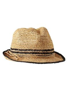 Stripe straw fedora Product Image