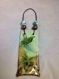 Ceramic wall pocket green and brown by MGFMudpies on Etsy, $24.00
