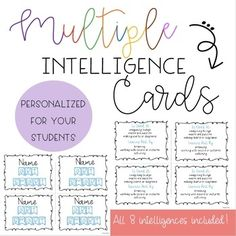 "Let your students in on the fun of knowing how they learn! Personalize these cards with your students' names to help them remember to use their strengths. These are ""smart"" cards."