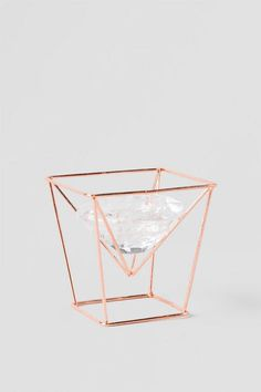"""Glass Tea Light Holder with Copper Stand 3.75"""". Chic home decor."""