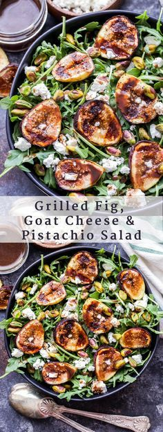 Grilled Fig, Goat Cheese and Pistachio Salad - Recipe Runner Goat Cheese Recipes, Goat Cheese Salad, Veggie Recipes, Healthy Recipes, Keto Recipes, Figs With Cheese, Vegetarian Salad Recipes, Recipes Dinner, Grilling Recipes