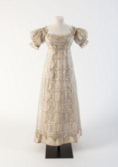 Cream silk gauze Madras lace frock with silk satin detail, 1817  The HoopSkirt Society                                                       …