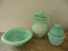 Vintage Green Glass Avon Set,  I have this set from my great grandma who just passed away 2010