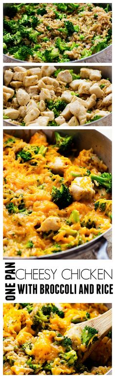 This Cheesy Chicken with Broccoli and Rice only requires ONE pan is will become an instant family favorite!!