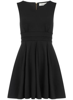 Black V-Neck Full Rib Dress