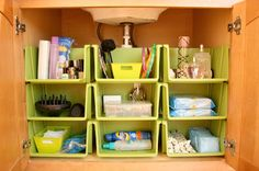Bathroom Cabinet Organization great for under a bathroom or kitchen sink.