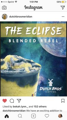 @dutchbrosmeridian ECLIPSE BLENDED REBEL!! Dutch Secret Menu, Dutch Brothers, Dutch Bros Drinks, Starbucks Drinks, Fabulous Foods, Yummy Snacks, Smoothie Recipes, Rebel, Cravings
