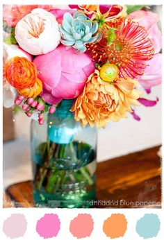 anna and blue paperie: Color Palette Love - Coral + Pink (colors of wedding, and floral arrangements, bouquets)