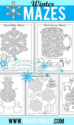 Free Winter Themed Mazes and Activity Pages for Kids. Snowma Maze, Snowflakes, Hot Chocolate, Igloo and more. Mazes For Kids, Winter Activities For Kids, Winter Crafts For Kids, Winter Kids, School Age Activities, Party Activities, Christmas Activities, Christmas Crafts, Camping Activities