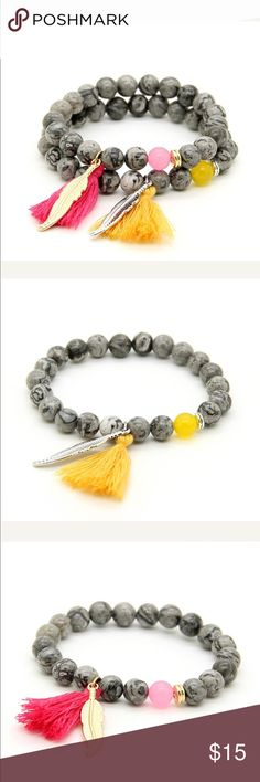 Jasper Stone Beads Tassel Leaf Boho Bracelet Coming soon!!! Jasper Stone Beads Tassel Leaf Boho Bracelets. Will Have Colors Redish Pink and Yellow 8mm Jewelry Bracelets