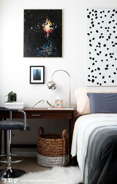 Desk as nightstand | The Design Confidential