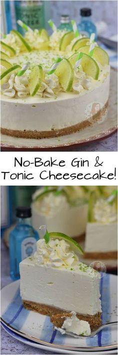 No-Bake Gin and Tonic Cheesecake! No-Bake Gin and Tonic Cheesecake! Just Desserts, Delicious Desserts, Yummy Food, Gin And Tonic Cheesecake, Gin And Tonic Cupcakes, Cheesecake Recipes, Dessert Recipes, Janes Patisserie, Buttery Biscuits