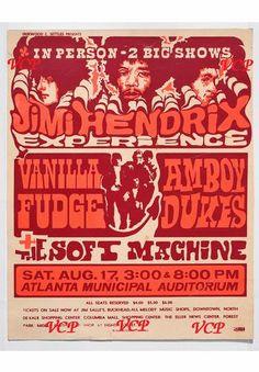 Jimi Hendrix Experience, Vanilla Fudge, Amboy Dukes (with Ted Nugent) and The Soft Machine at the Atlanta Municipal Auditorium, August 1968.