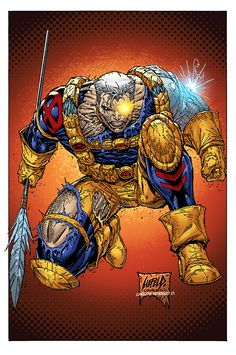 Again, the original artwork by the great Rob Liefeld, but this time with inks by Ian Churchill, and colors by me. Comic Book Drawing, Comic Books Art, Comic Art, Book Art, Cable Xmen, Cable Marvel, Marvel Comic Character, Marvel Characters, Character Art