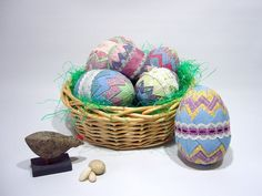 Quilted Easter Egg Ornament / Folded Fabric Easter Egg Ornaments