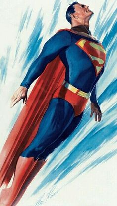 A Superman pin-up by Alex Ross, whose photorealistic style changed the way we think about these iconic comic book characters. I love how Ross' Superman is both clean and classic as well as strong and dynamic. Comic Book Artists, Comic Book Characters, Comic Book Heroes, Comic Character, Comic Books Art, Comic Artist, Alex Ross, Clark Kent, Hero Marvel