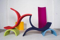 Tricia Stackle Chromatic Gestures, sculptural felt furniture