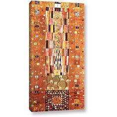 Gustav Klimt Abstract Frieze Gallery-Wrapped Canvas, Size: 12 x 24, Brown