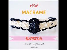 DIY macrame tutorial. How to make easy black and white macrame bracelet with a bead - YouTube