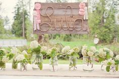 Name spelled in rope on wood planks with classy white flowers in jars underneath for the perfect vintage touch Cowgirl Party, Horse Party, Cowgirl Birthday, Pony Party, 2nd Birthday Parties, Birthday Kids, Girl Parties, Fourth Birthday, Vintage Cowgirl
