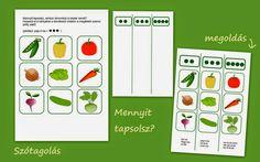 Nyomtatható játékcsomag a zöldségekről