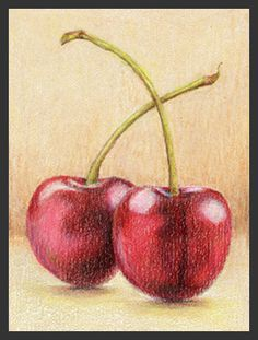 2 Cherries - ACEO in size, color pencil on rough pastel paper