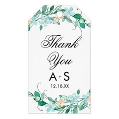 Mint & Peach Floral Wreath Chic Wedding Thank You Gift Tags - chic gifts diy elegant gift ideas personalize